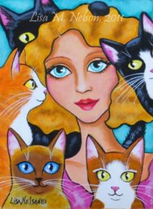 Cat-Lady-and-Five-Lovely-Cats